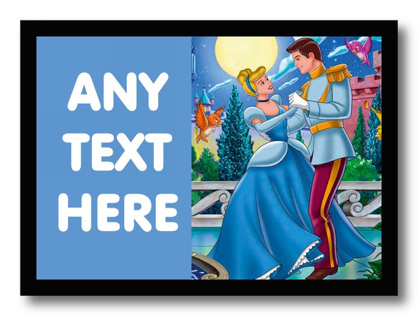 Blue Cinderella Personalised Dinner Table Placemat