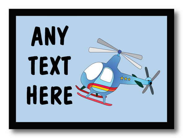 Blue Helicopter Personalised Dinner Table Placemat