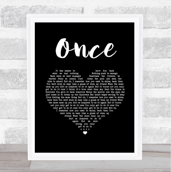 Liam Gallagher Once Black Heart Song Lyric Wall Art Print