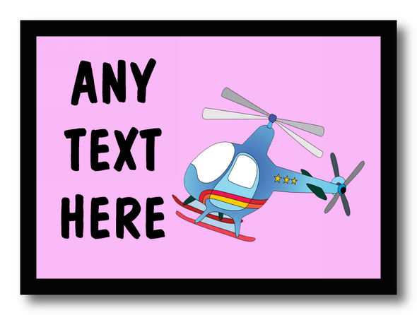 Pink Helicopter Personalised Dinner Table Placemat