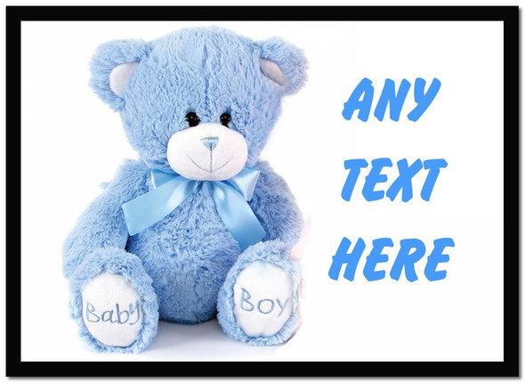 Blue Teddy Personalised Dinner Table Placemat