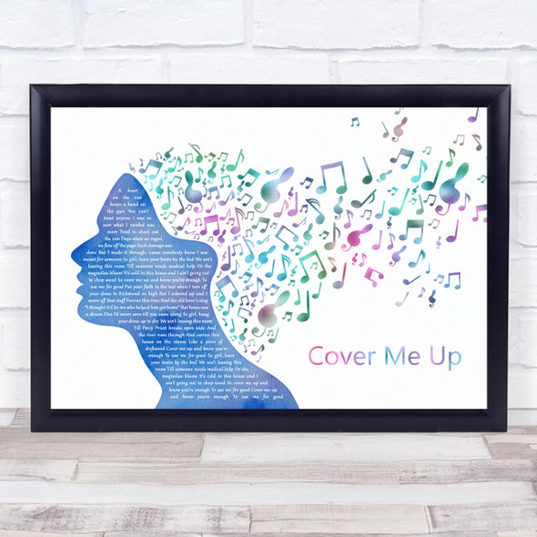 Jason Isbell Cover Me Up Colourful Music Note Hair Song Lyric Wall Art Print