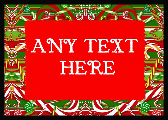 Candy Cane Christmas Personalised Dinner Table Placemat