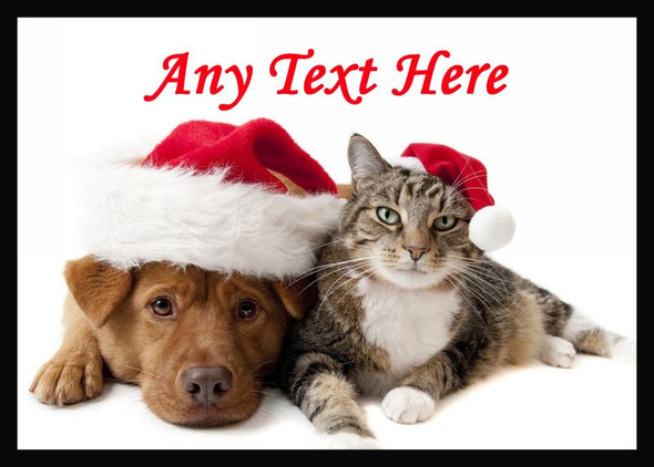 Cat And Dog Christmas Personalised Dinner Table Placemat