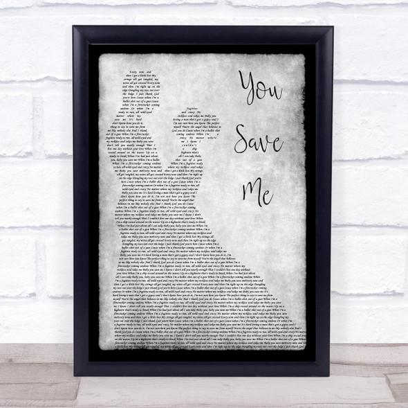 Kenny Chesney You Save Me Grey Man Lady Dancing Song Lyric Wall Art Print