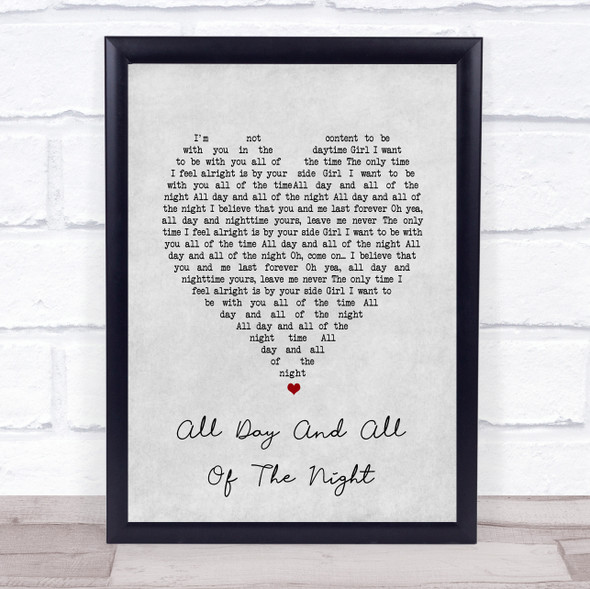 The Kinks All Day And All Of The Night Grey Heart Song Lyric Wall Art Print