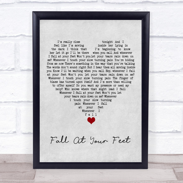 Crowded House Fall At Your Feet Grey Heart Song Lyric Wall Art Print
