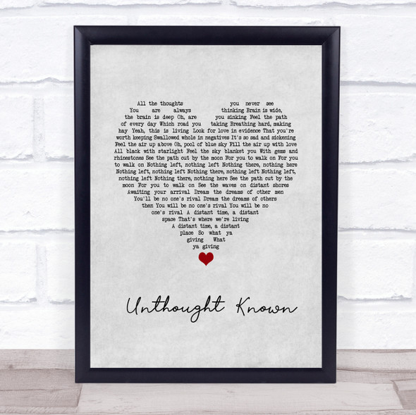 Pearl Jam Unthought Known Grey Heart Song Lyric Wall Art Print