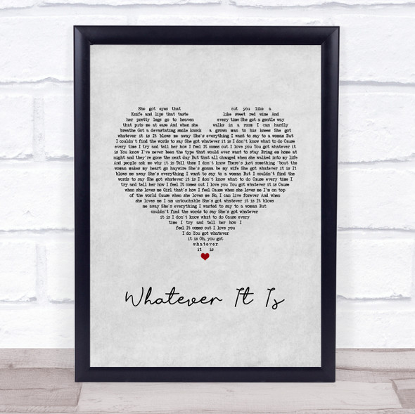 Zac Brown Band Whatever It Is Grey Heart Song Lyric Wall Art Print