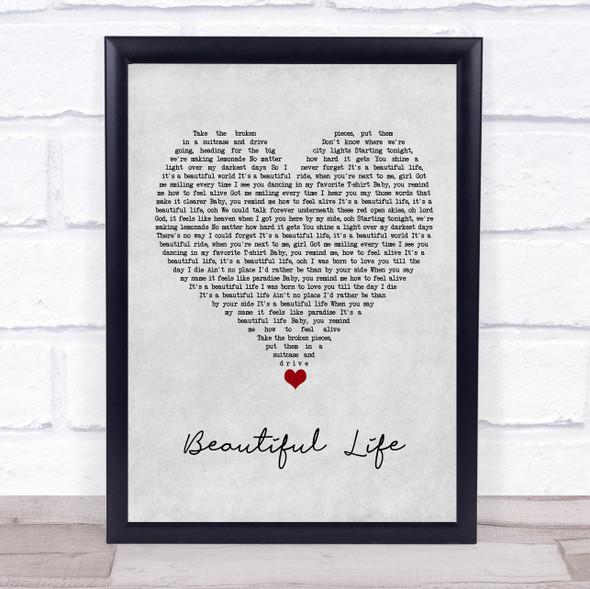Zak Abel Beautiful Life Grey Heart Song Lyric Wall Art Print