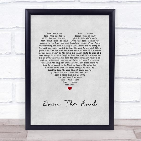 Kenny Chesney Down The Road Grey Heart Song Lyric Wall Art Print