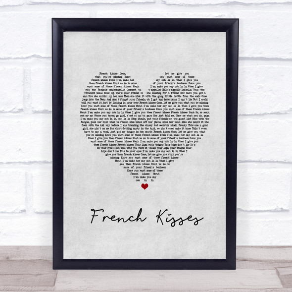 ZieZie feat. Aitch French Kisses Grey Heart Song Lyric Wall Art Print