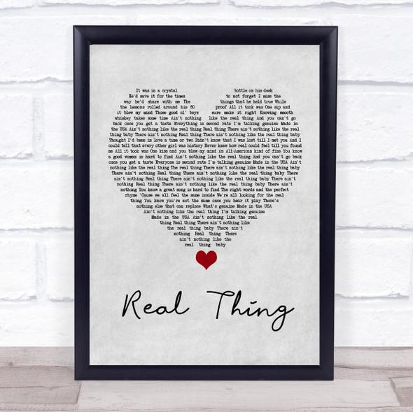 Zac Brown Band Real Thing Grey Heart Song Lyric Wall Art Print