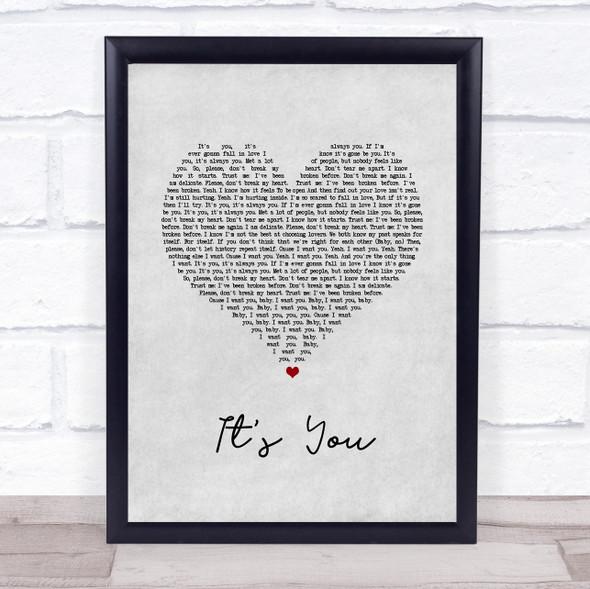 Ali Gatie It's You Grey Heart Song Lyric Wall Art Print