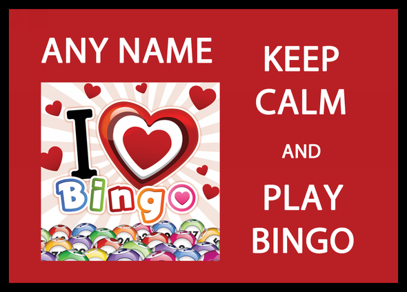 Keep Calm And Love Play Bingo Personalised Dinner Table Placemat