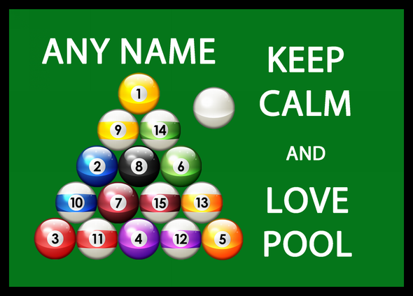 Keep Calm And Love Pool Personalised Dinner Table Placemat