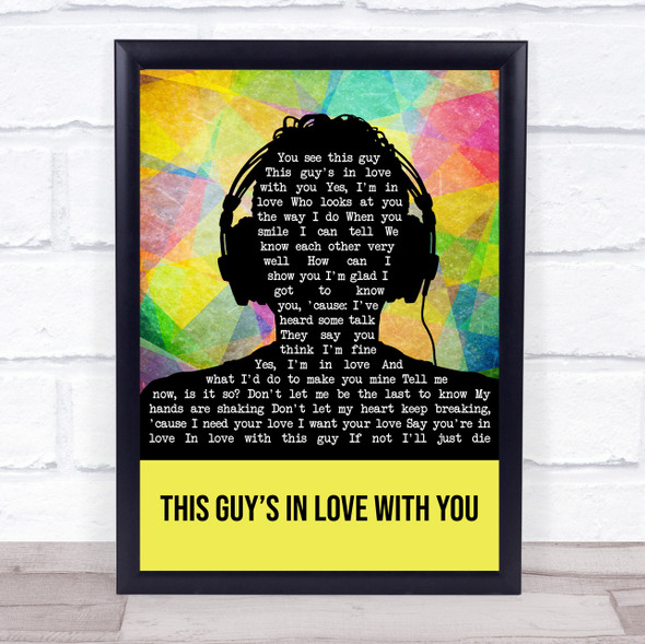 Faith No More This Guy's In Love With You Multicolour Man Headphones Song Lyric Wall Art Print
