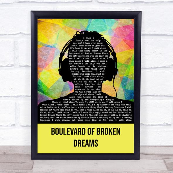 Green Day Boulevard Of Broken Dreams Multicolour Man Headphones Song Lyric Wall Art Print