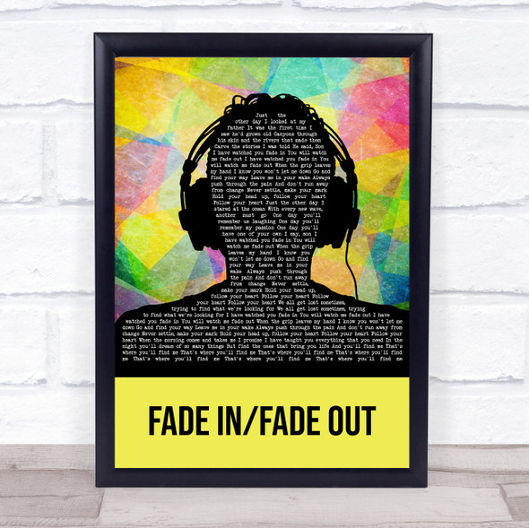 Nothing More Fade In Fade Out Multicolour Man Headphones Song Lyric Wall Art Print