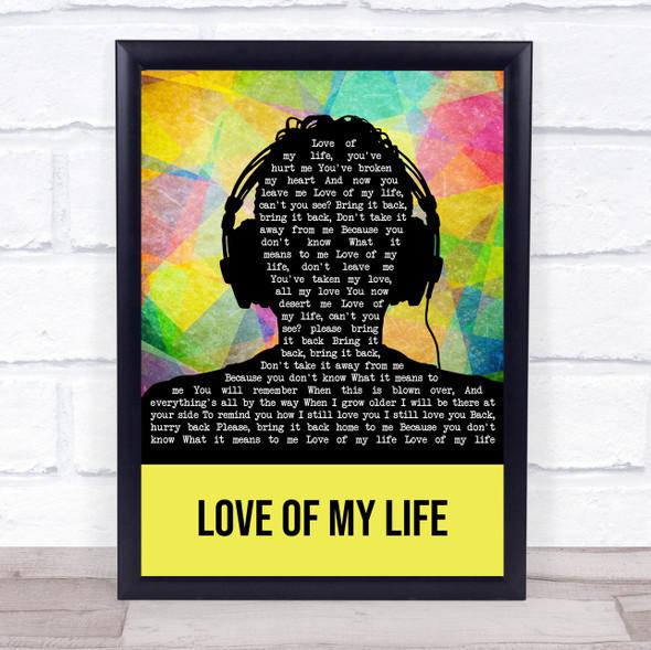 Queen Love Of My Life Multicolour Man Headphones Song Lyric Wall Art Print