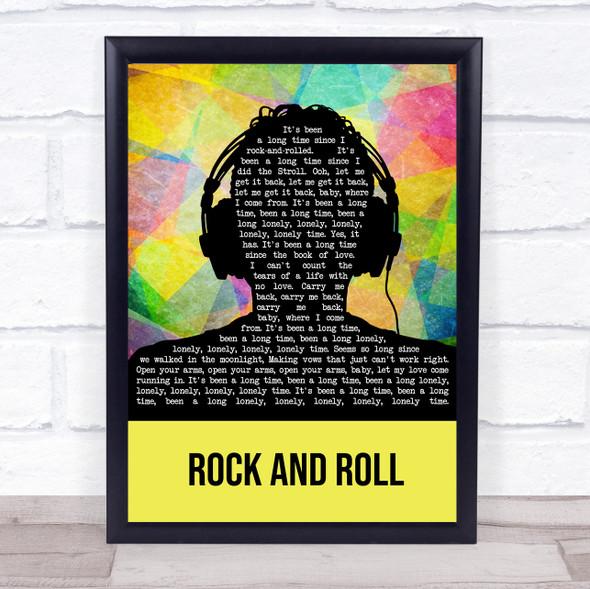 Led Zeppelin Rock And Roll Multicolour Man Headphones Song Lyric Wall Art Print