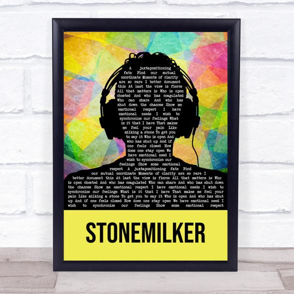 Bjork Stonemilker Multicolour Man Headphones Song Lyric Wall Art Print