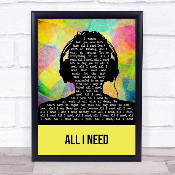 Al Green All I Need Multicolour Man Headphones Song Lyric Wall Art Print