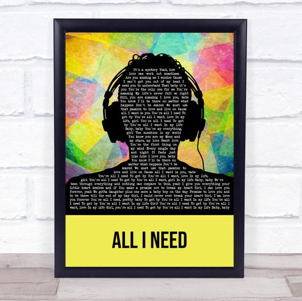 The Green (band) All I Need Multicolour Man Headphones Song Lyric Wall Art Print