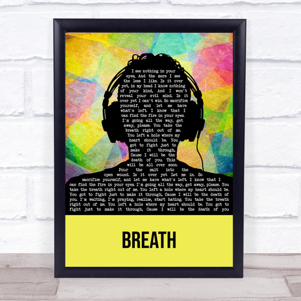 Breaking Benjamin Breath Multicolour Man Headphones Song Lyric Wall Art Print