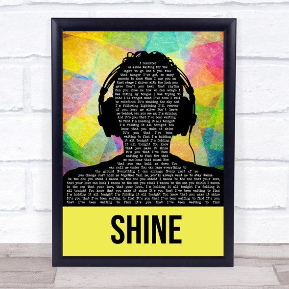 Years & Years Shine Multicolour Man Headphones Song Lyric Wall Art Print