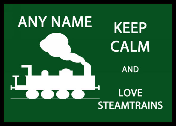 Keep Calm And Love Steam trains Personalised Dinner Table Placemat