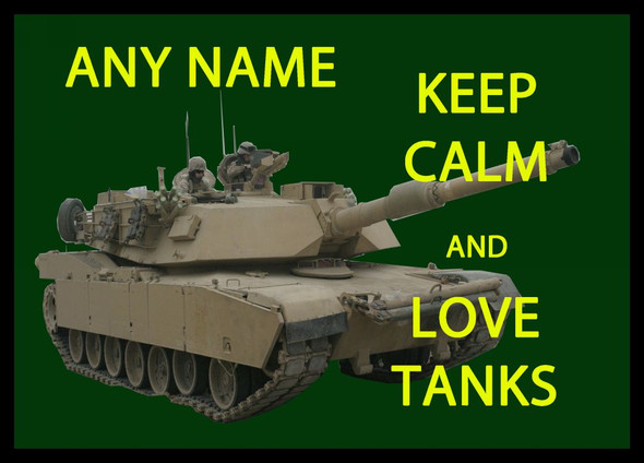 Keep Calm And Love Tanks Personalised Dinner Table Placemat