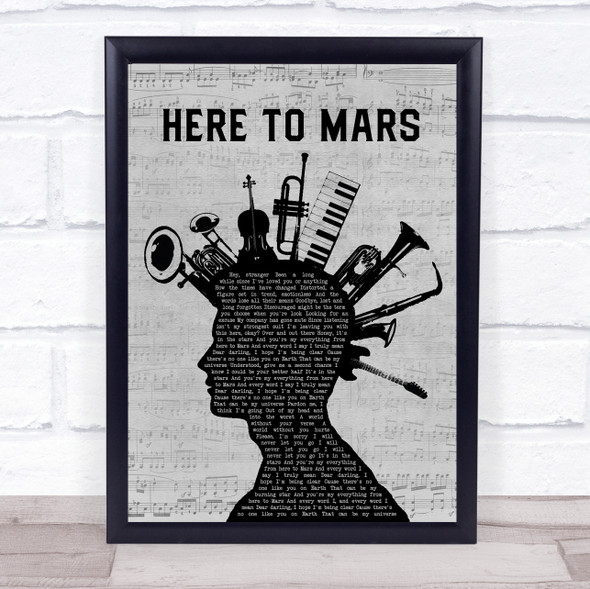 Coheed And Cambria Here To Mars Musical Instrument Mohawk Song Lyric Wall Art Print