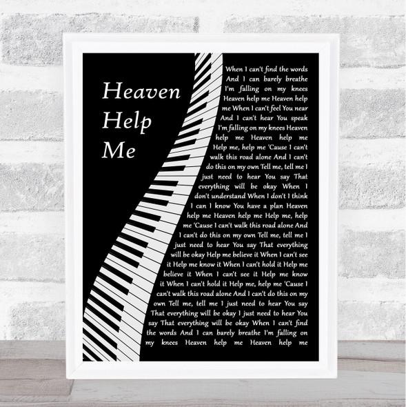 Zach Williams Heaven Help Me Piano Song Lyric Wall Art Print