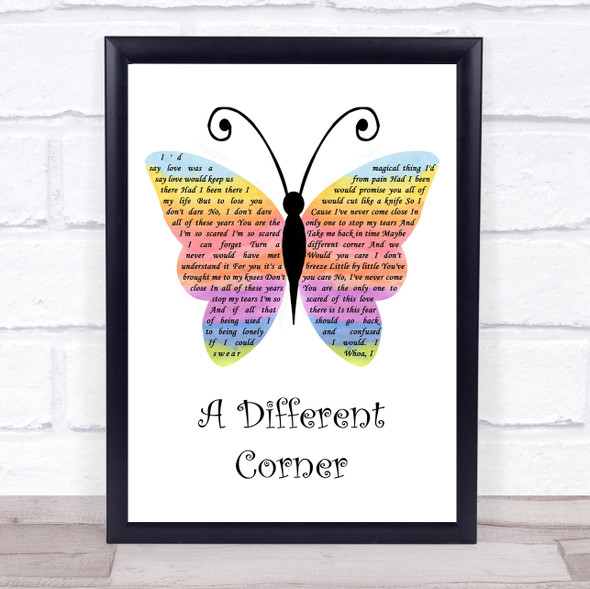 George Michael A Different Corner Rainbow Butterfly Song Lyric Wall Art Print