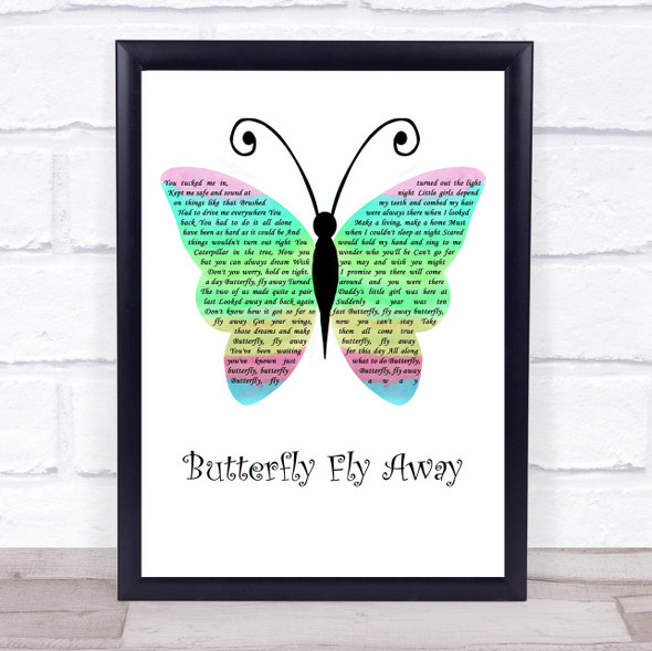 Miley Cyrus Butterfly Fly Away Rainbow Butterfly Song Lyric Wall Art Print