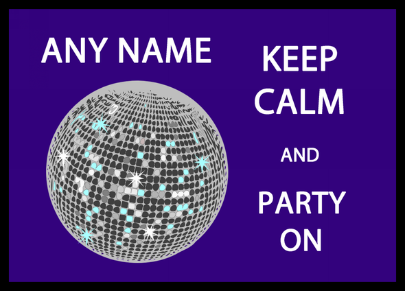 Keep Calm And Party On Personalised Dinner Table Placemat