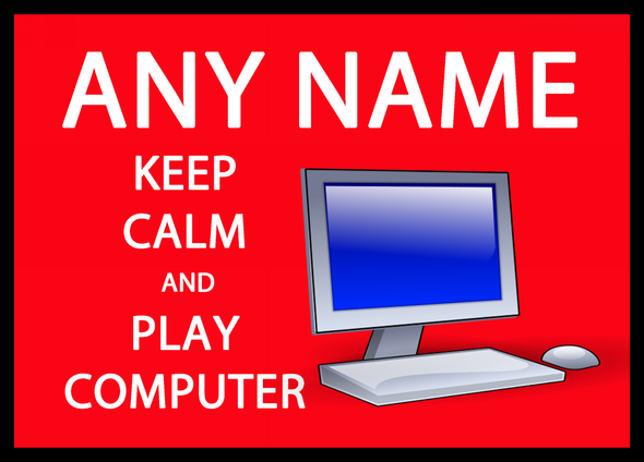 Keep Calm And Play Computer Personalised Dinner Table Placemat