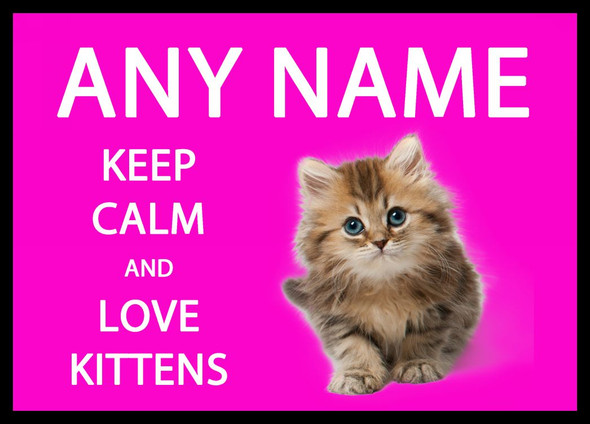 Keep Calm And Love Kittens Pink Personalised Dinner Table Placemat