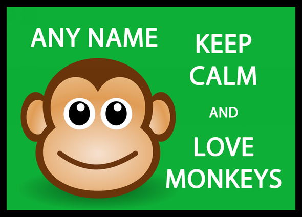 Keep Calm And Love Monkeys Personalised Dinner Table Placemat