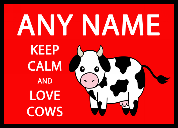 Keep Calm And Love Cows Red Personalised Dinner Table Placemat