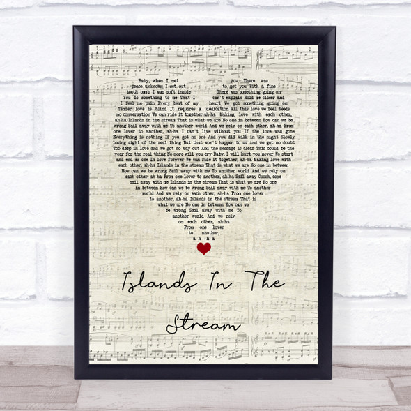 Kenny Rogers & Dolly Parton Islands In The Stream Script Heart Song Lyric Wall Art Print