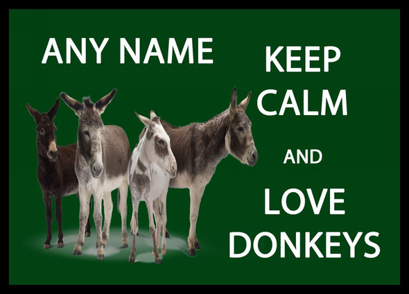Keep Calm And Love Donkeys Personalised Dinner Table Placemat
