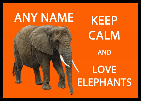 Keep Calm And Love Elephants Personalised Dinner Table Placemat