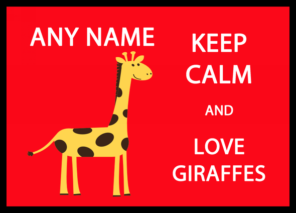 Keep Calm And Love Giraffes Personalised Dinner Table Placemat