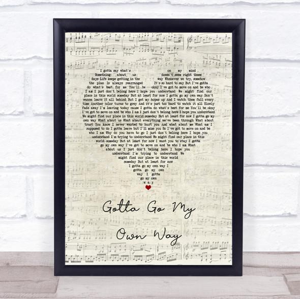 Zac Efron & Vanessa Hudgens Gotta Go My Own Way Script Heart Song Lyric Wall Art Print