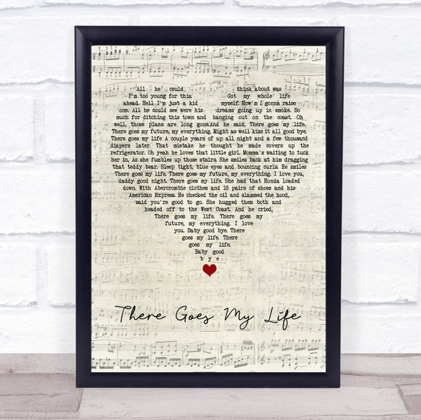 Kenny Chesney There Goes My Life Script Heart Song Lyric Wall Art Print
