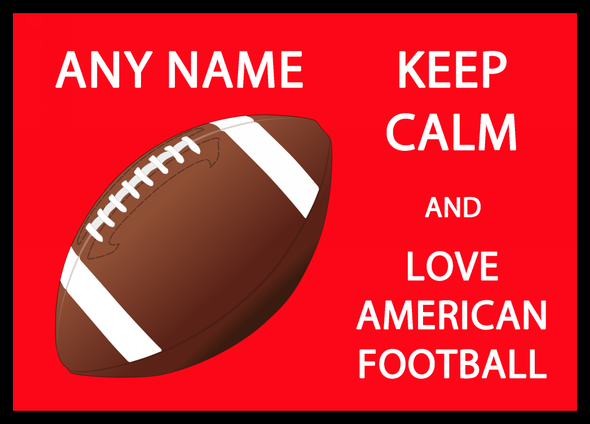 Keep Calm And Love American Football Personalised Dinner Table Placemat