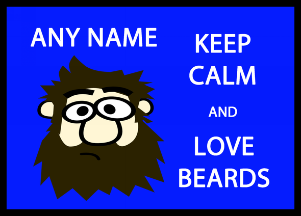 Keep Calm And Love Beards Personalised Dinner Table Placemat