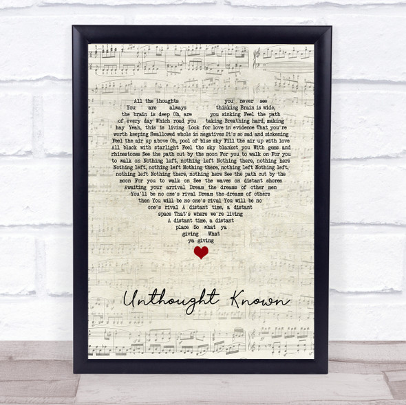 Pearl Jam Unthought Known Script Heart Song Lyric Wall Art Print